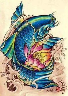 Japanese Fish Tattoo, Tattoo Japanese Style, Japanese Tattoo Designs, Japanese Art, Koi Fish Drawing, Fish Drawings, Outline Drawings, Koi Dragon Tattoo, Koi Fish Tattoo