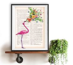 Flamingo Flower Print vintage drawing book art by NotMuchToSay