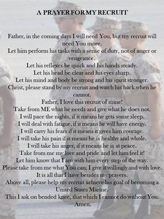 Prayer for My Recruit. Proud Marine mom. Marine Mom Quotes, Army Mom Quotes, Military Quotes, Son Quotes, Navy Quotes, Girlfriend Quotes, Military Girlfriend, Military Mom, Military Letters