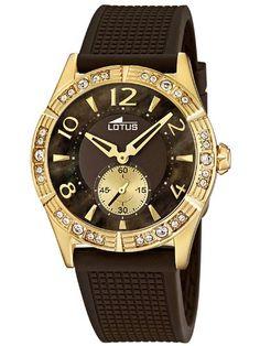 Lotus 15762/3 - Reloj analógico de cuarzo para mujer con correa de plastico color marron