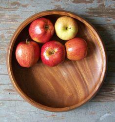 vintage wood bowl serving dish modern rustic by RecycleBuyVintage, $28.00 www.recyclebuyvintage.etsy.com