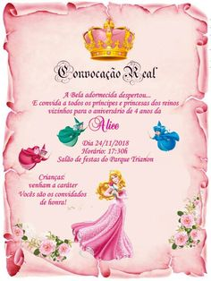 a bela adormecida convite Princess Birthday Invitations, Princess Party Favors, Disney Invitations, Quinceanera Invitations, Princess Aurora Party, Disney Themed Rooms, Sleeping Beauty Party, Prince Party, New Years Eve Party