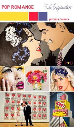 creative wedding themes inspired by art Roy Lichtenstein retro weddings primary colors