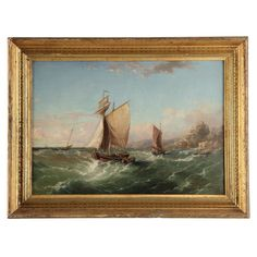 Antique Nautical Marine Oil Painting on Canvas, Ships at Sea