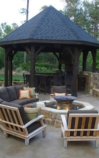 Gazebo with fire pit on the outside