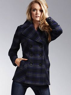 Victoria's Secret - Double-breasted plaid peacoat