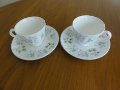 Minton porcelain Spring Valley 2 Coffee Cups saucers  yellow flower made England