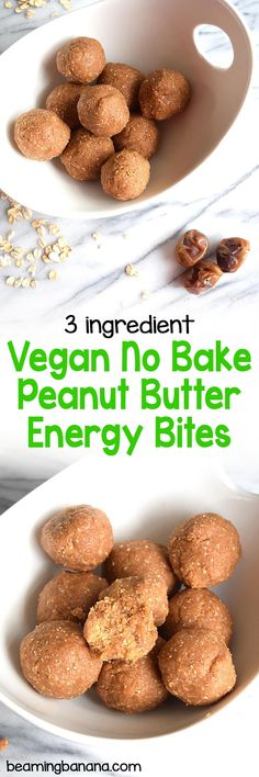 Vegan no bake peanut butter energy bites are a snack or breakfast treat that'll keep you going all day! Made with just 3 healthy ingredients, gluten free, and naturally sweet.