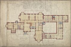 English Architecture, Courtyard House Plans, 2 Story Houses, Gilded Age, Classic House, Old Houses, Home Goods, Floor Plans, Indoor