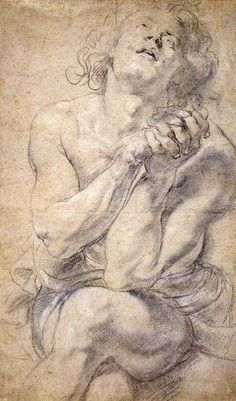 Peter Paul Rubens (1577–1640). Seated Male Youth (Study for Daniel), Black chalk, heightened with white chalk, on light gray paper, 500 x 299 mm.  © The Morgan Library & Museum