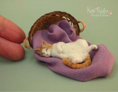 Miniature Tabby Cat sculpture by Pajutee on DeviantArt Needle Felted Animals, Felt Animals, Needle Felting, Baby Animals, Cute Animals, Polymer Clay Animals, Felt Cat, Cat Crafts, Miniature Dolls