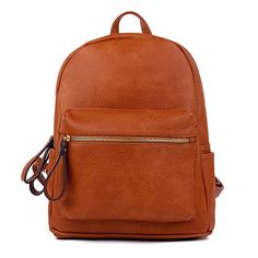 95b55ef8300a Women Backpack Purse PU Leather Simple Design Casual Daypack Fashion School  Backpack for Girls Brown Chic Backpack for Women
