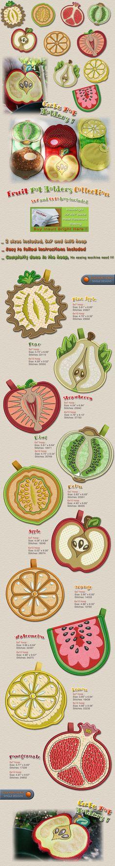 FRUIT POT HOLDERS, KITCHEN Embroidery Designs Free Embroidery Design Patterns Applique