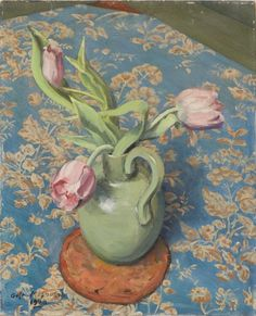 Gustav Magnusson, Pink Tulips, 1948. Oil on panel Pink Tulips, Bunch Of Flowers, Painting, Oil, Art, Flower Wrap, Bouquets, Painting Art, Paintings