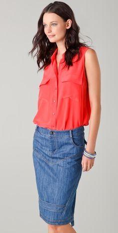 Equipment sleeveless blouses are my dream uniform...... i like this!