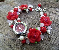 Floral women quartz bracelet watch 'Red roses' with от FlowerWatch