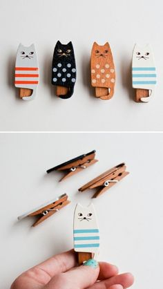 Save time for creative and interesting ideas. Make creative stuff out of wooden pegs. You can make awesome decorations out of wooden pegs or some things Cat Crafts, Diy And Crafts, Arts And Crafts, Handmade Crafts, Wooden Cat, Wooden Pegs, Diy Projects To Try, Craft Projects, Diy For Kids
