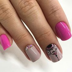 Cute Pink Nails, Love Nails, Pretty Nails, My Nails, Colorful Nail Designs, Cute Nail Designs, Gelish Nails, Nail Stamping, Short Nails