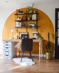 Home Office Design, Home Office Decor, Yellow Accent Walls, Living Room Decor, Bedroom Decor, Bedroom Wall Designs, Living Room Paint, Aesthetic Rooms, New Room