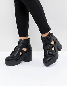 1c29599a526 ASOS DESIGN Ester Chunky Western Cut Out Boots