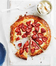 Orange-scented brioche with brown sugar labne and strawberries // Gourmet Traveller