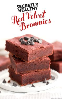 These Healthy Red Velvet Brownies are just like any regular brownie -- fudgy, moist, dense, chocolatey, sweet -- but with a lovely reddish hue. They are 100% whole grain, free of refined sugar, gluten free, and vegan to boot.  Oh, and they're hiding a VEGETABLE!  Shhhh!