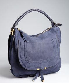 9cead072c2ec Chloe blue brushed leather  Marcie  large hobo Blue Suede