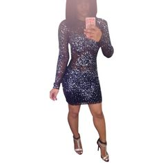 Pre-owned Navy Blue/ Black Dress ($322) ❤ liked on Polyvore featuring dresses, navy blue, prom dresses, see through prom dress, navy blue prom dresses, cocktail prom dress and cocktail party dress