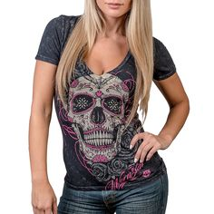 Wornstar Women's Calavera Deep VNeck T-Shirt - My Sugar Skulls