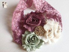 Melodie - Vintage Inspired Headband - Mauve Sage Green Cream - Dusty Rose Headband - Toddler Headband - Birthday Girl - Tea Party - Fancy - Bridal fashion accessories (*Amazon Partner-Link)