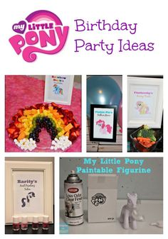 Throw an amazing My Little Pony Party.  From a rainbow fruit platter (Rainbow Dash) to a nail painting station (Rarity) this party has all the ponies covered!