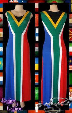 Long custom printed South African flag dress
