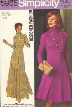 Designer Retro Fashion Simplicity Sewing Pattern 1970s Maxi Mini Dress Long Sleeves Turtle Neck Flared Skirt Fitted Bodice Uncut FF Bust 34