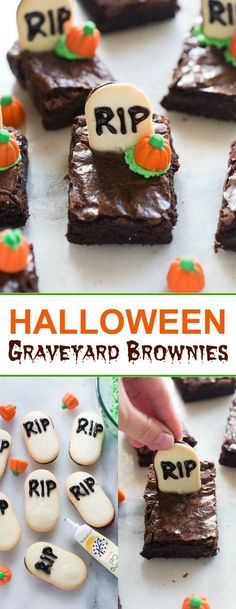 Graveyard Halloween Brownies Halloween graveyard brownies are the perfect fun and easy Halloween treat for a party tastesbetterfroms Halloween Brownies, Soirée Halloween, Halloween Party Snacks, Halloween Goodies, Easy Halloween Treats, Halloween Food Ideas For Kids, Spooky Treats, Halloween Costumes, Halloween Food Crafts