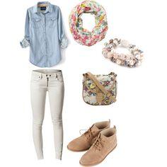 Denim Long-Sleeve Tee, White Jeans, Light Brown Shoes, Floral Scarf, Floral Handbag, Colorful Bracelet