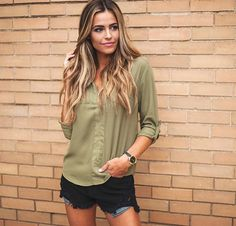 Olive is the NEW Black...🍃😘 {Army Green Zipper Blouse-$32, Black Destroyed High Waist Shorts-$34, Black Braided Watch-$28} #dottiecouture #newarrivals #shop #ootd #musthave #bestseller #olive #fallfashion #chic #freeshipping