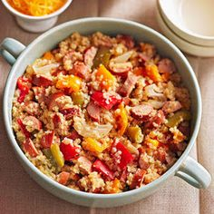 Slow cooker quinoa with sausage and peppers.Very delicious recipe.Quinoa containing more fiber than any other grain.