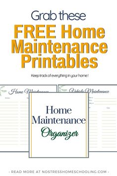 Use these free home maintenance printables to help manage your home- whether its keeping track of your car inspections or planning a home reno! Free Printable Worksheets, Free Printables, Paper Binder, Binder Dividers, Home Management Binder, Home Organization Hacks, Home Reno, Budgeting Tips, Getting Organized