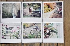 """Poloroid"" Coasters made w/ white tiles, modge podge & photos ... I need to make these w/ my landscapes & flower images <3"