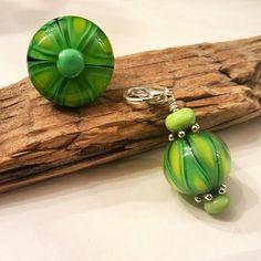 Green lampwork bead set. Ring and pendant