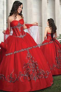 Corsage Abendkleid Ballkleid in Rot