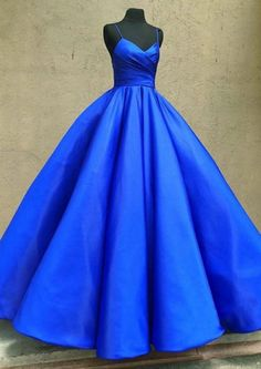 Royal blue satin prom dress #prom #dress #promdress