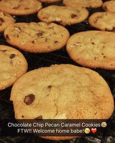Caramel pecan chocolate chip cookies that were baked tonight as well. Ooh I love a rainy night. #cookies #chocolatechip #turtle #nationaldessertday #sweettreats #latepost #latergram #dessert #baked #homebaked #saturdaybaking #fortgeloveofbaking #upclose #yummy #sweets #alldone #love #forher #treats #saturday #whatido #simplysweet #bakedwithlove #snapchat  Yummery - best recipes. Follow Us! #nationaldessertday