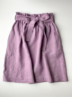 Linen skirt purple-skirt with tie ribbon belt & deep pockets-comfortable skirt wide elastic waistband-spring summer prewashed linen skirt