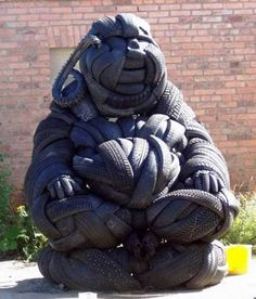 Today's post is about Rubber Tire sculptures. The artist has converted tires into huge tire sculptures .