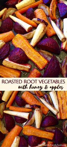 Apples & honey aren't just for desserts! Try them in these delicious roasted root vegetables - a perfect side dish for any festive family meal.  #recipe #sidedish #vegetarian #vegetables #easyrecipe