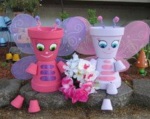 """10"""" Planter Pot Person People BUTTERFLY Free Ship"""