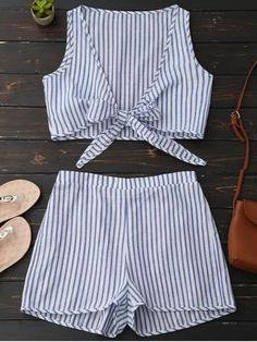 Plunge Striped Front Tied Top With Shorts - Blue Stripe (Tunic Top Muslim) Dresses For Teens, Outfits For Teens, Summer Outfits, Casual Outfits, Cute Outfits, Fashion Outfits, School Outfits, Rompers For Teens, Teen Pants