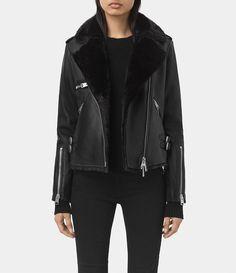 Womens Higgens Lux Leather Biker Jacket (Black/Black) - product_image_alt_text_1