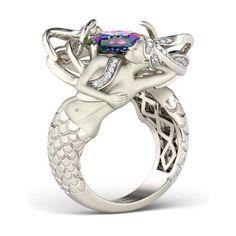 Cushion Cut Rainbow Topaz Rhodium Plated Sterling Silver Mermaid Engagement Ring